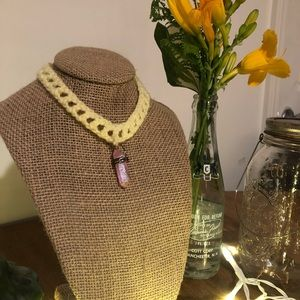 handmade crochet necklace with crystal pendant